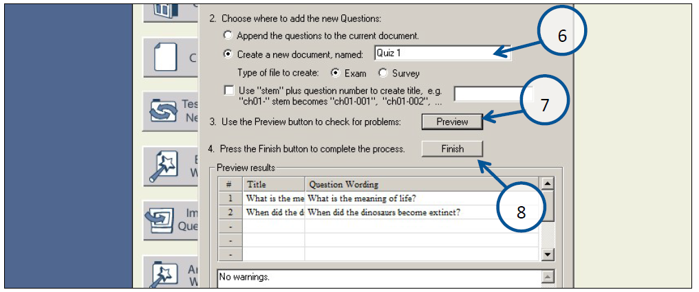 Create a document with a name, preview to ensure there are no issues, then click finish.