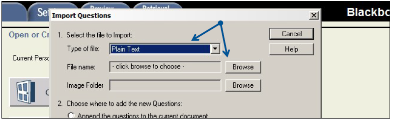 Selecting the type of file you will be importing into Respondus Campus Wide