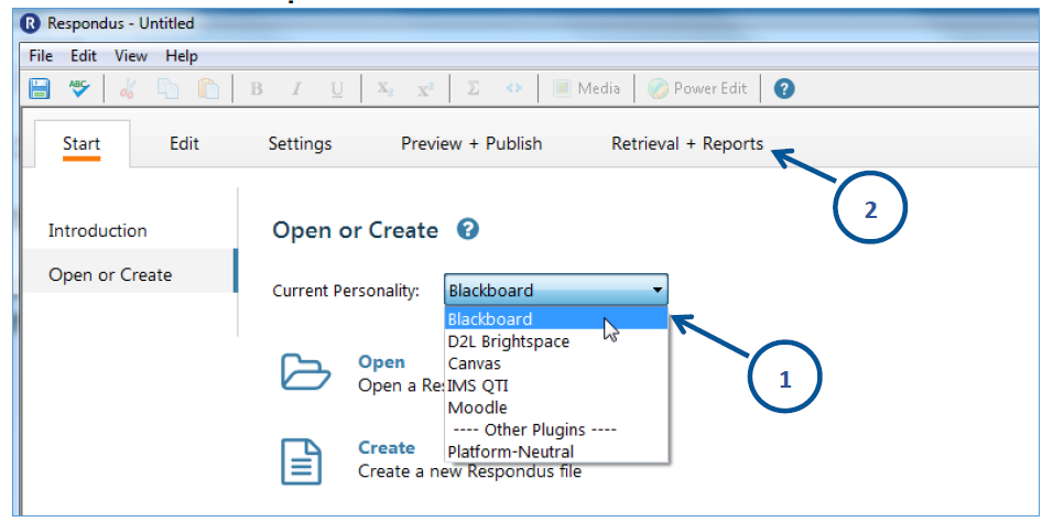 Respondus main tab choose to open or create a document select the save format.