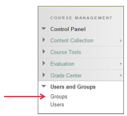 a screenshot of the Users and Group drop down menu with an arrow pointig to Groups