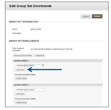 a screenshot of the Edit Group Set Enrollments screen with an arrow pointing to Add Users