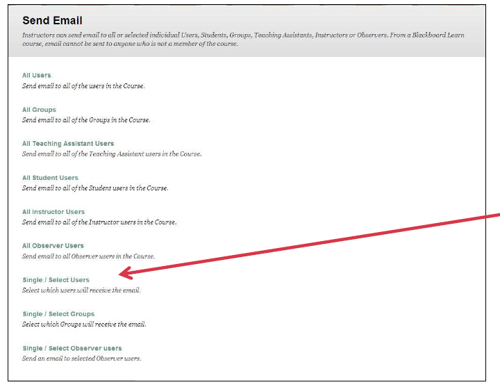a screenshot of the Send Email screen with an arrow pointing at the Single/Select Users option