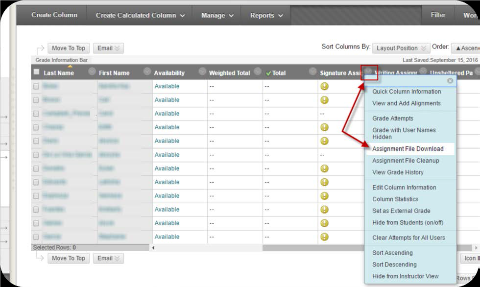 a screenshot of the assignment column drop down menu with Assignment File Download selected