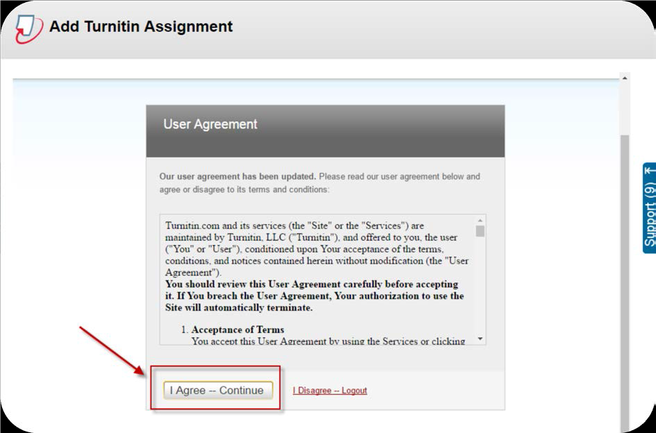 a screenshot of the Add Turnitin Assignment screen with I Agree -- Continue button selected