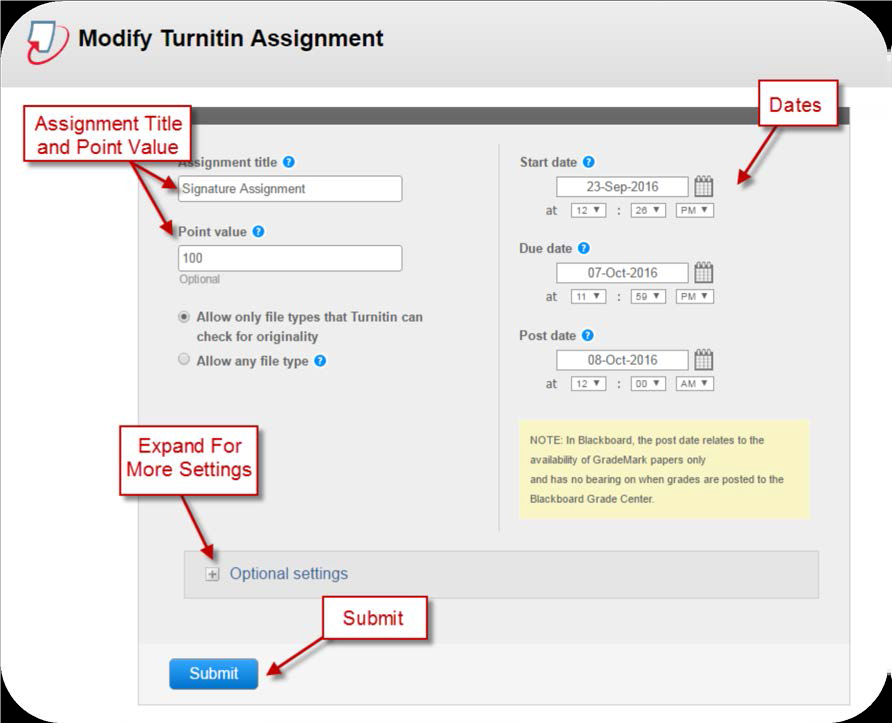 a screenshot of the Modify Turnitin Assignment screen with Point Value, Dates, Expand for more Settings, and Submit buttons