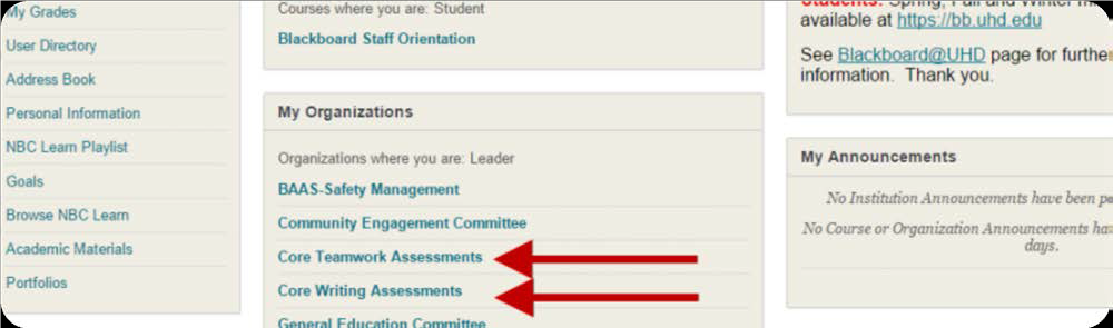 a screenshot of the My Organization section with Core Teamwork and Core Writing Assessments highlighted
