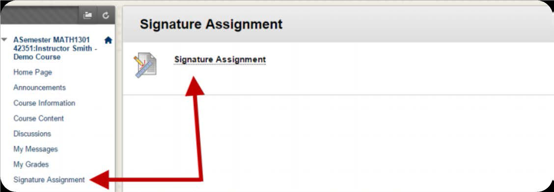 a screenshot of the Signature Assignment being selected from the Content Area