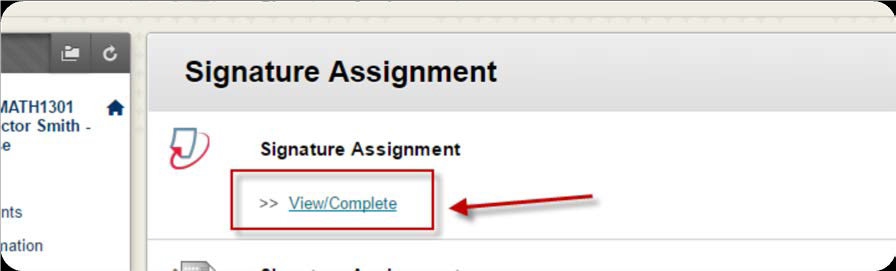 a screenshot of the View/Complete option under the Turnitin Signature Assignment