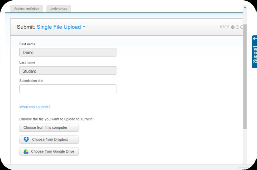 a screenshot of the Submit: Single File Upload screen in Turnitin