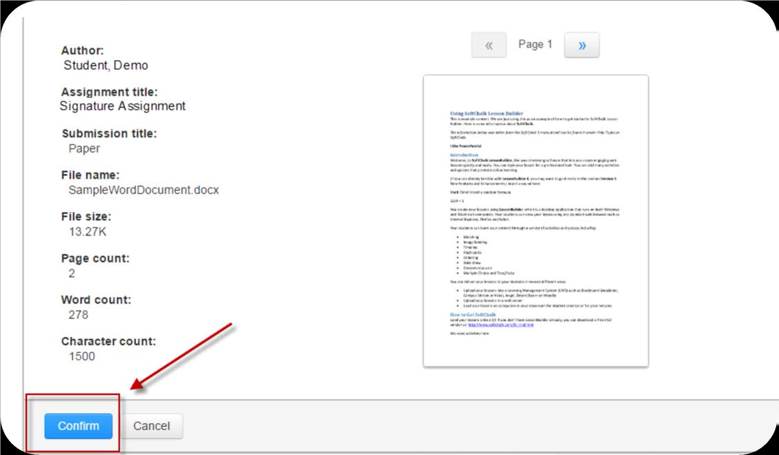 a screenshot of the Upload summary page and the Confirm button highlighted