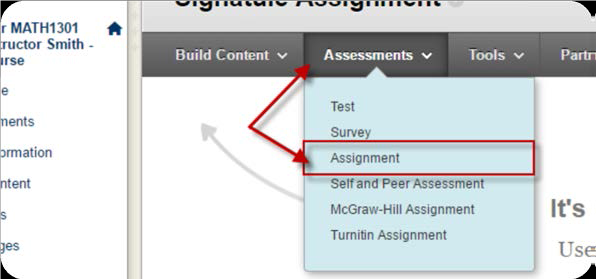 a screenshot of the Assessments drop down menu with Assignment selected