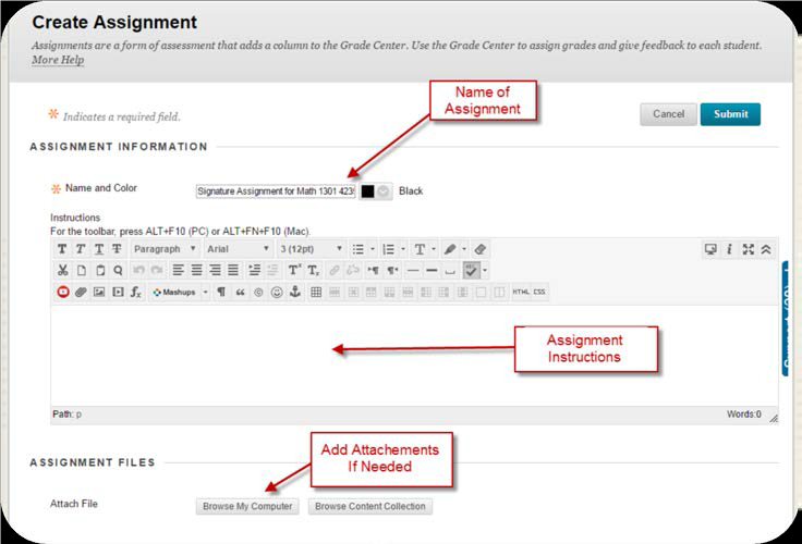 a screenshot of the Create Assignment dialog box with the Name, Assignment Instructions, and Attachment fields highlighted