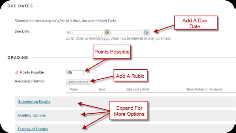 a screenshot of the Due Dates and Grading sections with Add a Due Date, Points Possible, Add a Rubric, and Expand options select