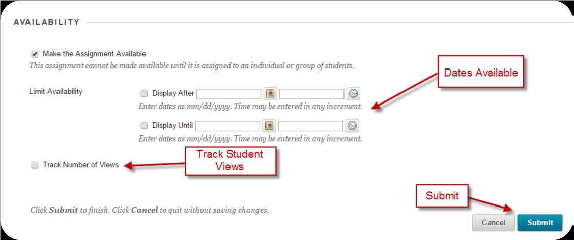 a screenshot of the Availability option with Dates Available, Track Student Views, and the Submit buttons highlighted