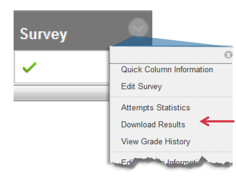 a screenshot of the Survey action drop down menu and Download Results selected