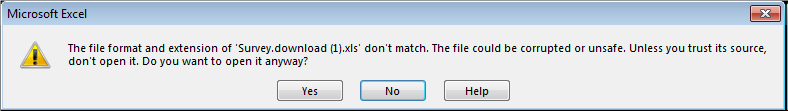 a screenshot of the Excel warning notification
