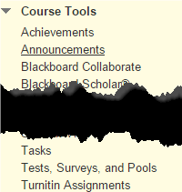 a screenshot of the Course Tools drop down menu with Tests, Surveys, and Pools selected