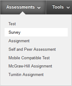 a screenshot of the Assessments drop down menu with Survey selected