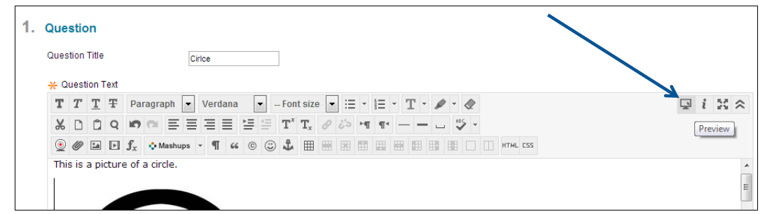 a screenshot of the Preview option in the toolbar