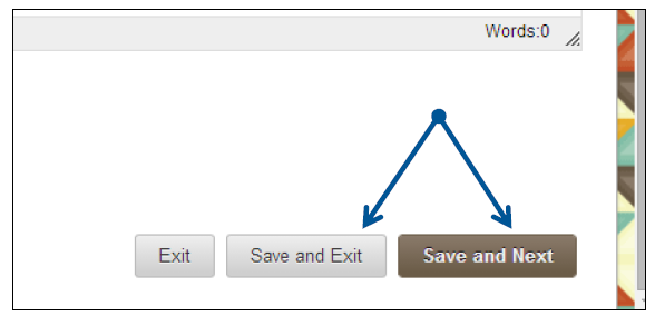 a screenshot of the Save and Exit and Save and Next buttons