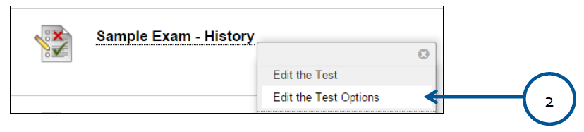 a screenshot of the Test Action drop down menu expanded with Edit the Test Options selected