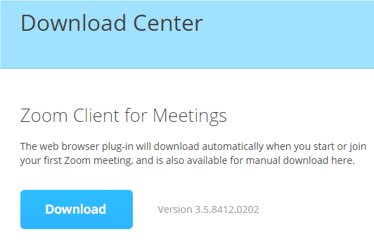 a screenshot of the Zoom download center