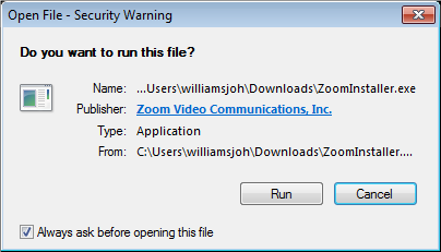 a screenshot of the Open File Security Warning with the Run button