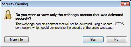 a screenshot of the security warning pop up