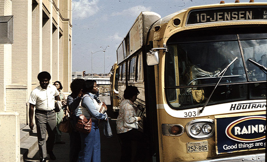 UHD students boarding a bus during the 1970s