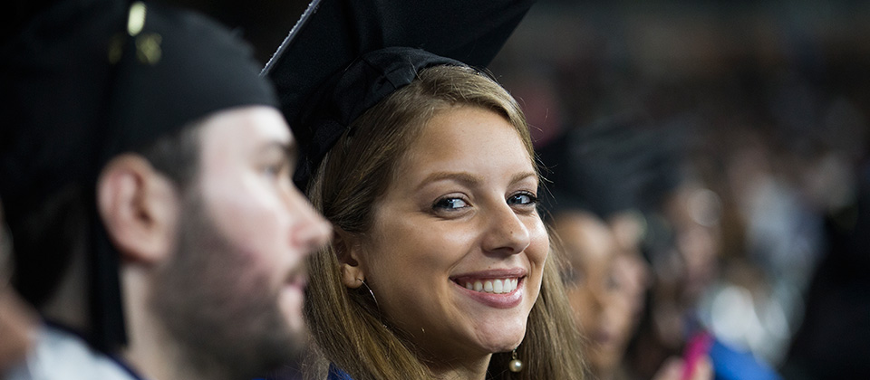 close-up of graduating students