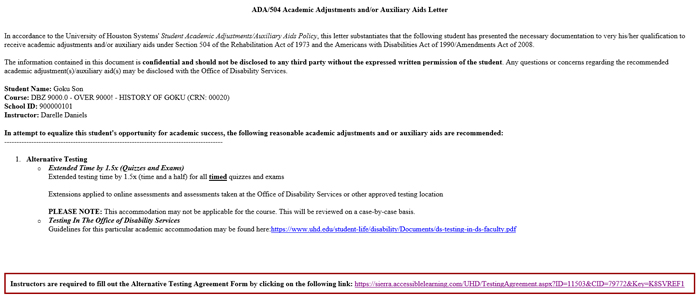 Screenshot of Academic Adjustments Auxilliary Aid Letter