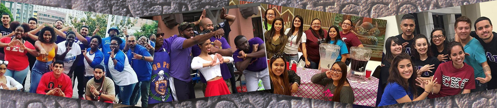 Collage of 4 images depicting various Greek organizations