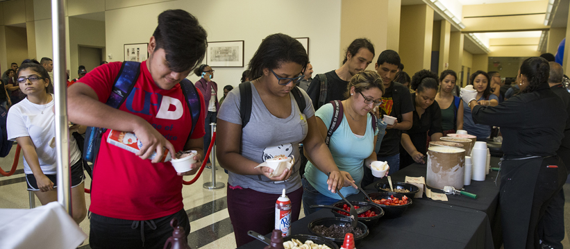 Students having ice-cream during welcome week
