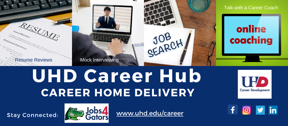 Promo slide about career hub at UHD Career center