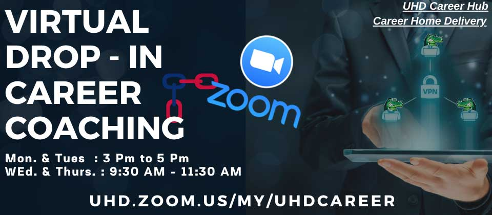 Information about Virtual Drop-In Career Coaching using Zoom