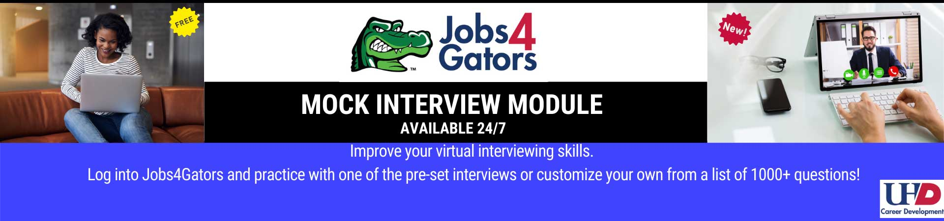 advertisement for Mock Interview Moldule available 24 hours a day, 7 days as week.
