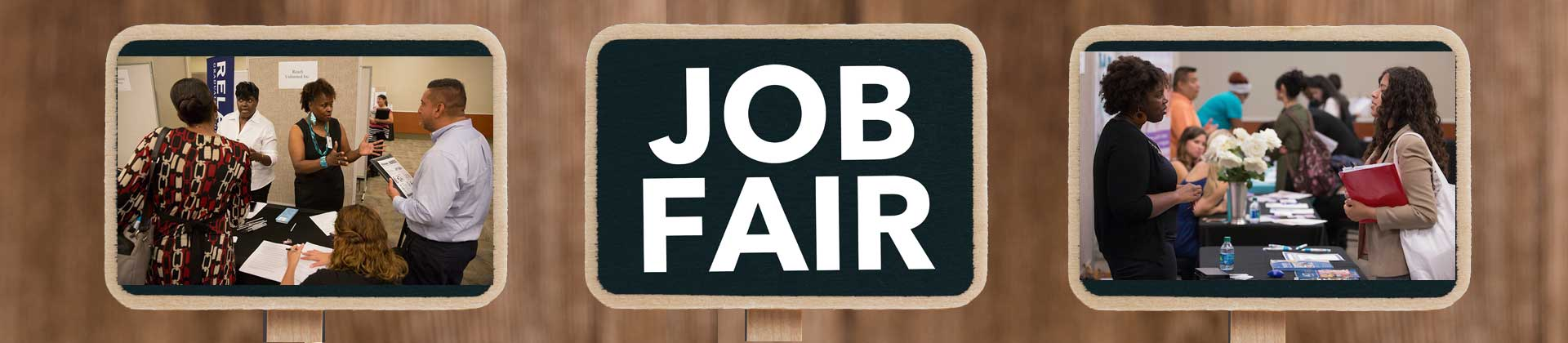 Employers pics posted on signs and sign saying Job Fair