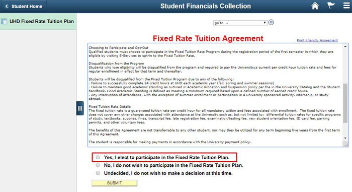 screen shot of the fixed rate tuition agreement