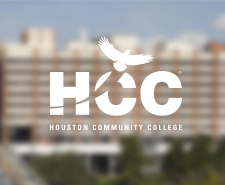 Houston Community College logo on a blurry background of the One Main building of UHD.