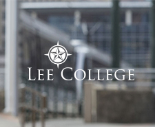 Lee College logo on a blurry background of the building of the College of Public Service.